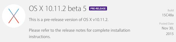 OS X 10.11.2 beta 5