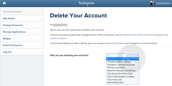 How to delete an instagram account permanently guide redmond pie step 3 click or tap on the permanently delete my account button to remove the logged in instagram account from the world forever ccuart Images