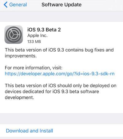 iOS 9.3 beta 2 OTA