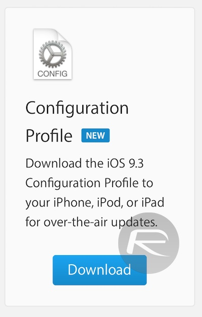 iOS 9.3 beta install via Profile