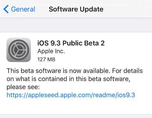 iOS 9.3 public beta 2