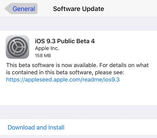 iOS 9.3 Public Beta 4