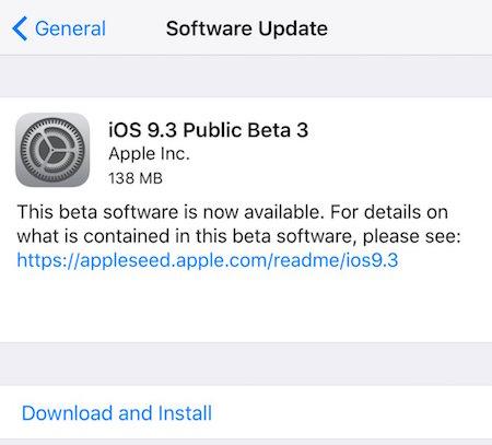 ios 9.3 public beta 3