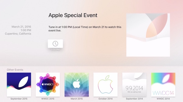 Apple Events app for Apple TV 4
