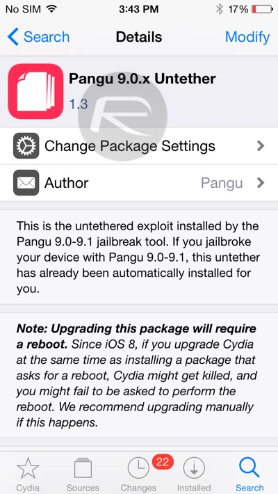 Pangu iOS 9.1 untether update