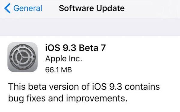 beta 7 OTA ios 9.3
