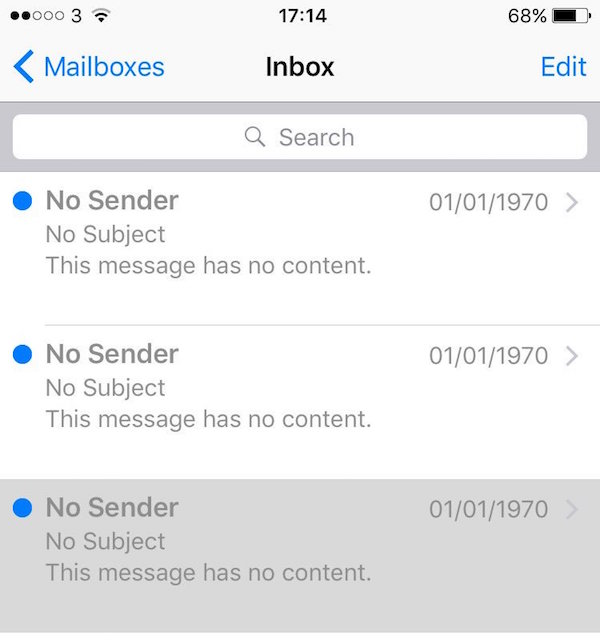 ios email bug