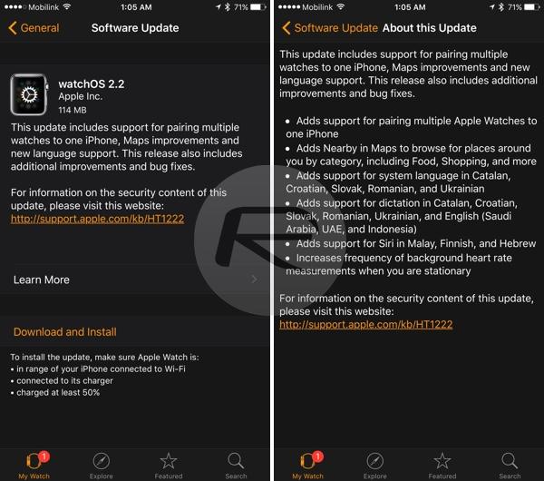 watchOS 2.2 changelog