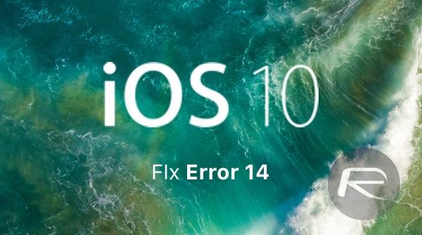 iOS 10 fix error 14