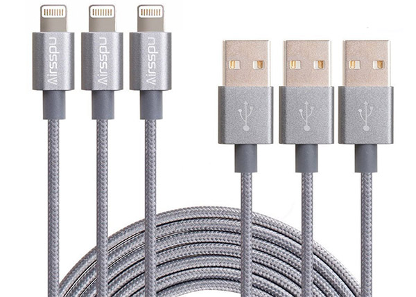 Airsspu-3Pack-10ft-Nylon-Braided-Lightning-USB-Charging-Cables
