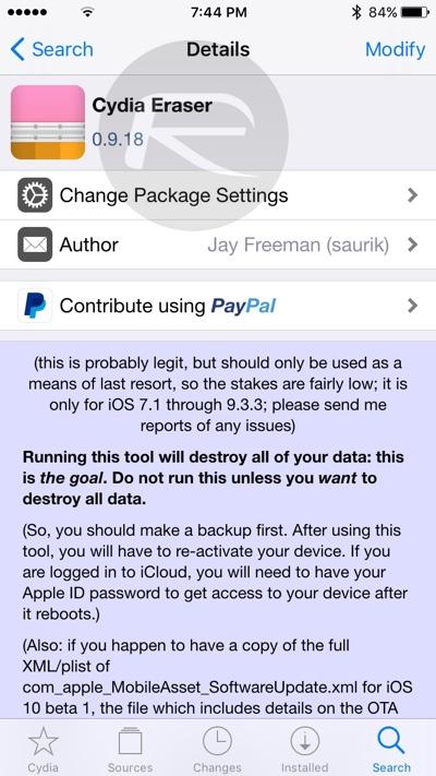 Cydia Eraser iOS 9.3.3