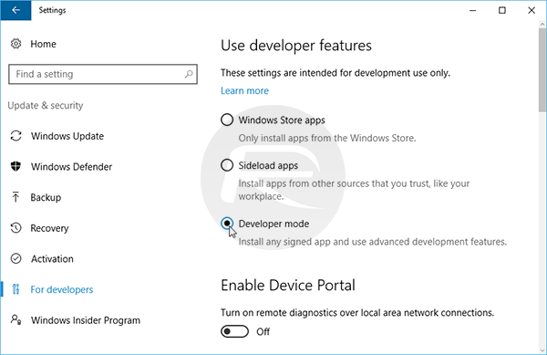 Developer-mode-W10