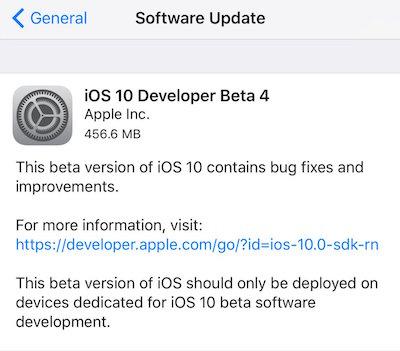 ios 10 beta 4 ota