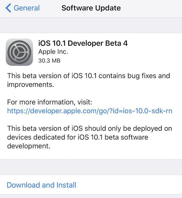 iOS 10.1 beta 4 OTA
