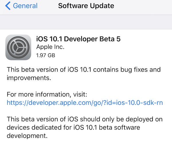 iOS 10.1 beta 5 OTA
