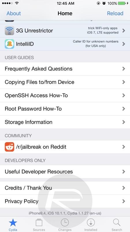 Cydia on iOS 10.1.1