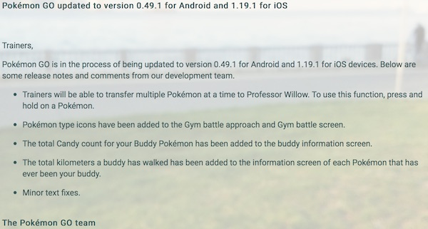 Pokemon changelog