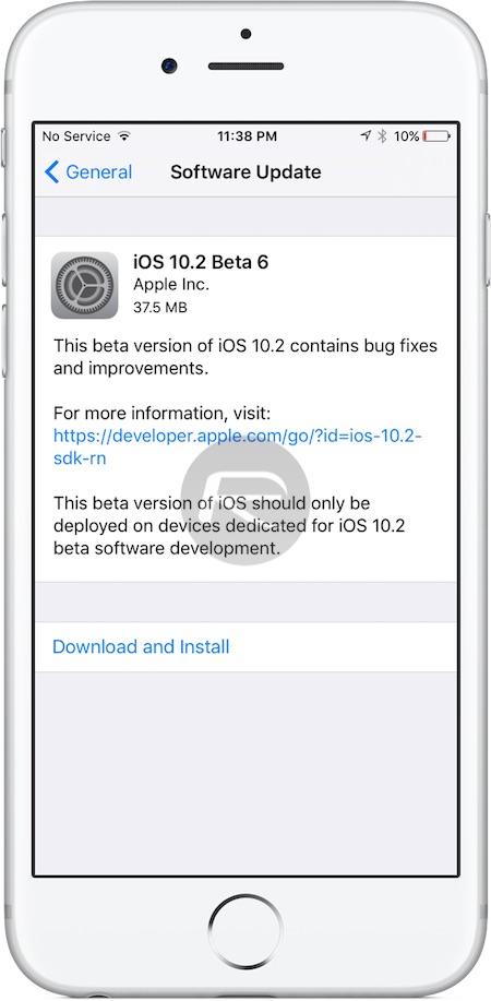 iOS 10.2 beta 6 OTA