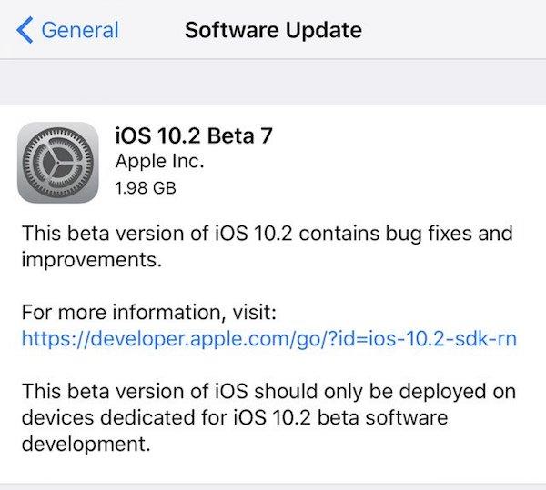 iOS 10.2 beta 7 ota