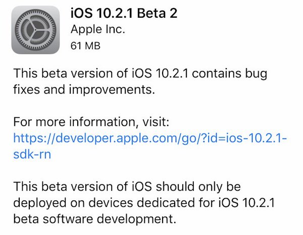 iOS 10.2.1 beta 2 OTA