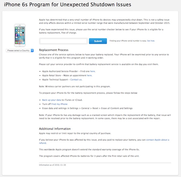 iPhone 6s repair program