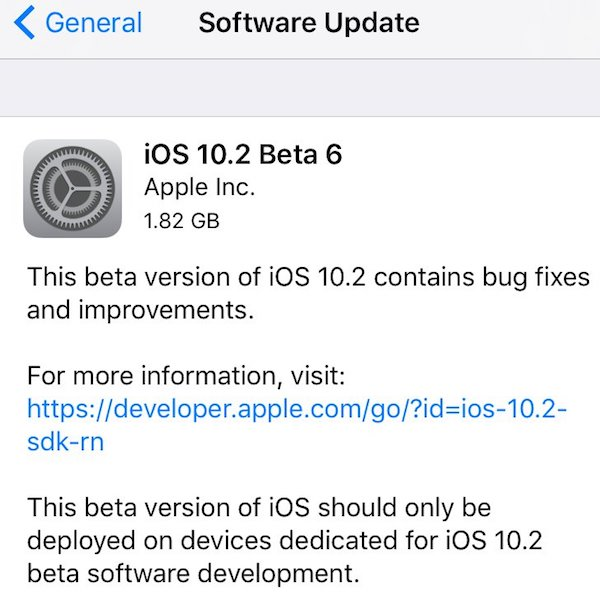 ios 10.2 beta 6