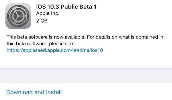 iOS 10.3 Public Beta 1