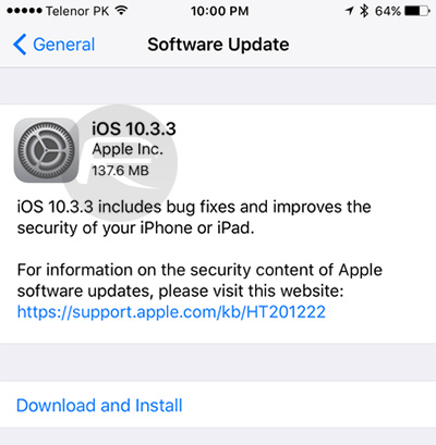 Download iOS 10 3 3 Final IPSW Links For iPhone, iPad, iPod touch