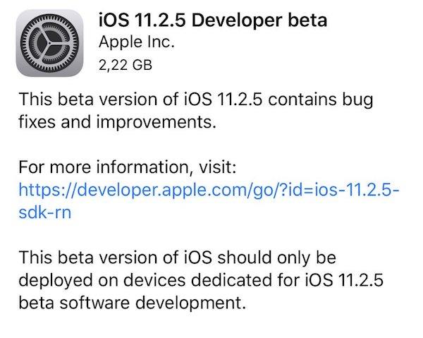 Download: iOS 11 2 5 Beta 1 IPSW Links, OTA Update Released