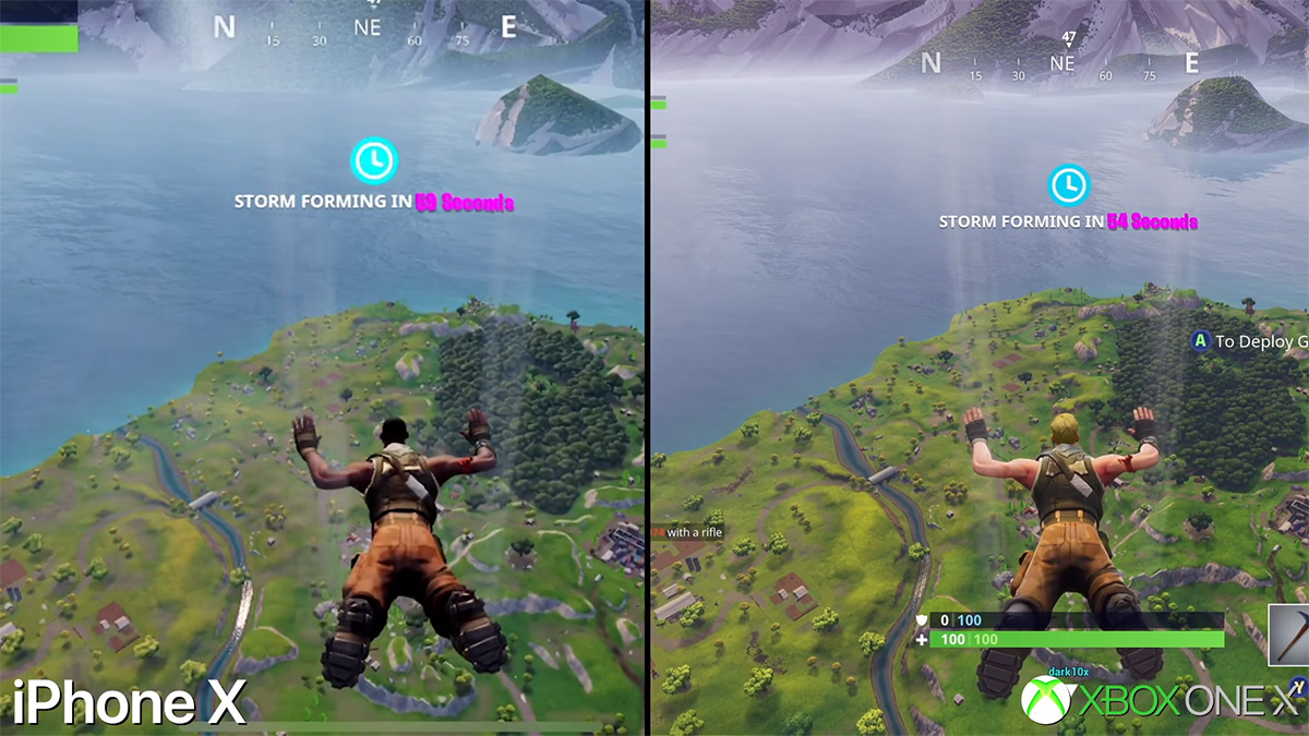 Fortnite Mobile On iPhone X Vs Xbox One X Graphics ...