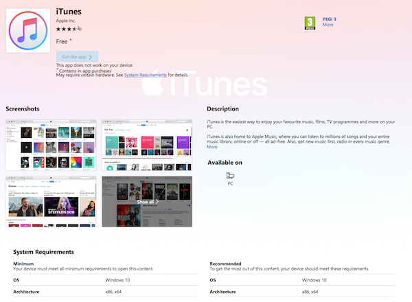 iTunes Finally Available To Download From Microsoft Store On