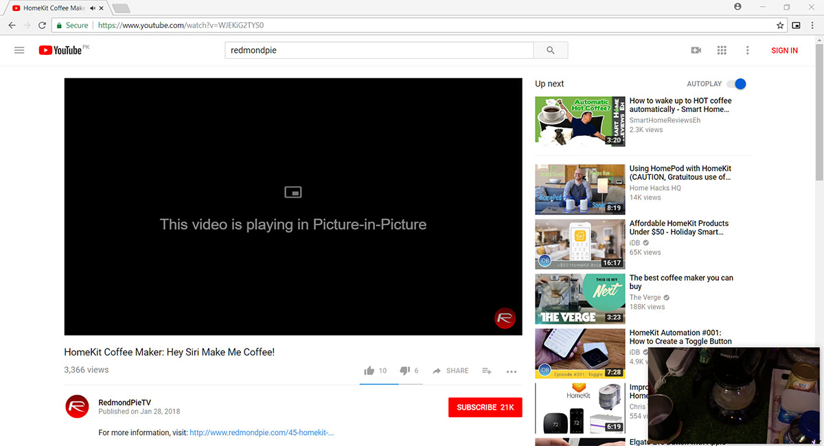 Enable Chrome PiP Picture-In-Picture Video Mode Early