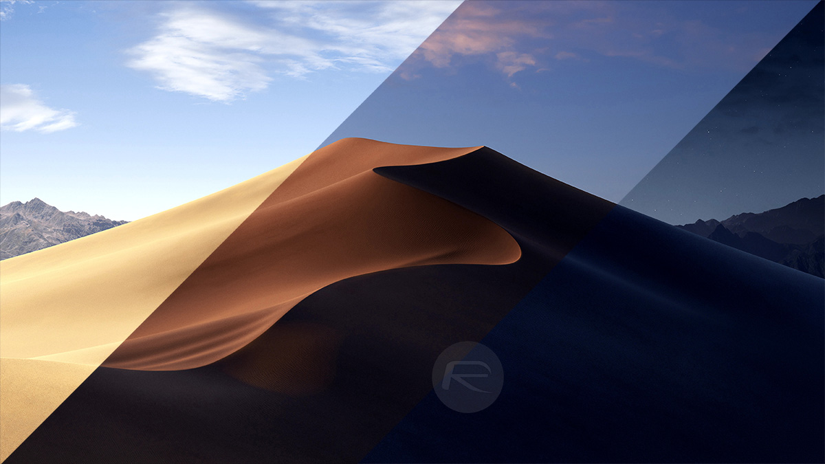 This was demonstrated on-stage with the stock macOS Mojave wallpaper changing from a daytime photo ...