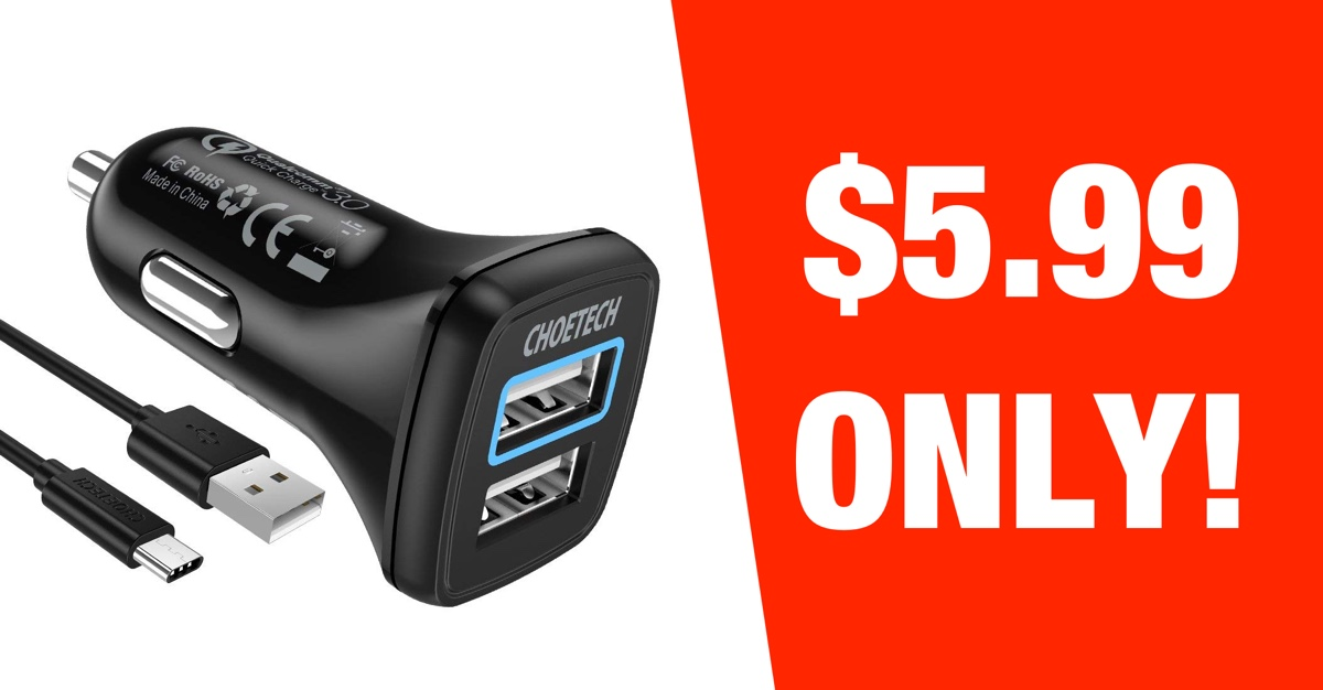 Hot Deal Dual Usb Car Charger With Quick Charge 3 0 Bundled C Cable For Just 5 99