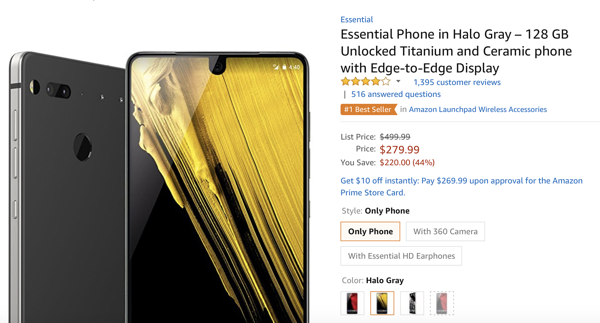 Amazon flogging the Essential Phone for just US$280