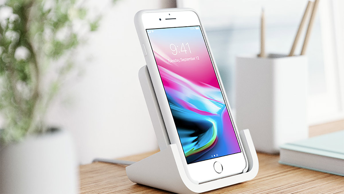 logitech announces powered wireless charging stand for iphone x redmond pie. Black Bedroom Furniture Sets. Home Design Ideas