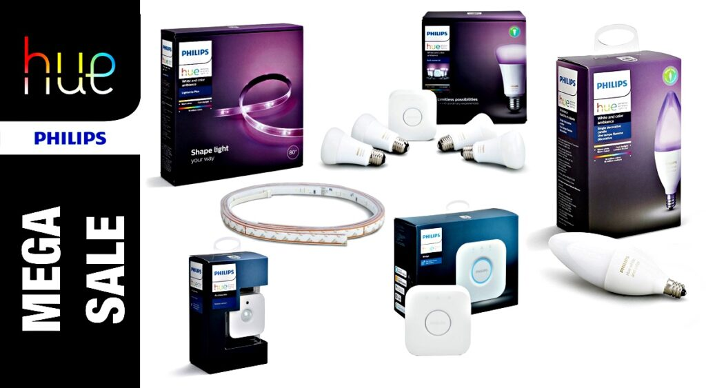 philips hue sale wide range of homekit compatible starter kits led bulbs sensors discounted. Black Bedroom Furniture Sets. Home Design Ideas