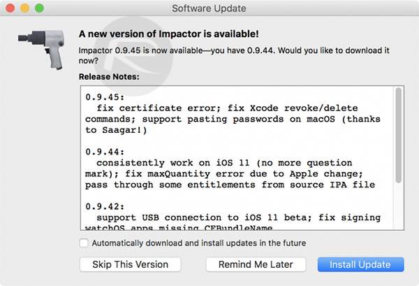 Cydia Impactor 0 9 45 Adds CPP 160 Error Fix And More On Windows