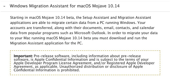 macOS Mojave Windows Migration Assistant Will Transfer Accounts