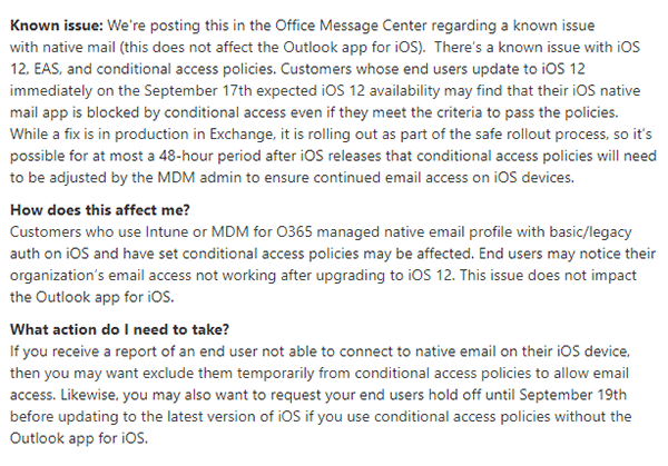 iOS 12 Mail Not Working With Exchange ActiveSync, Intune, MDM For