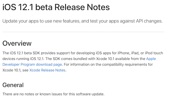 iOS 12 1 Beta 1 Release Notes, Features, Changes: Here's Everything