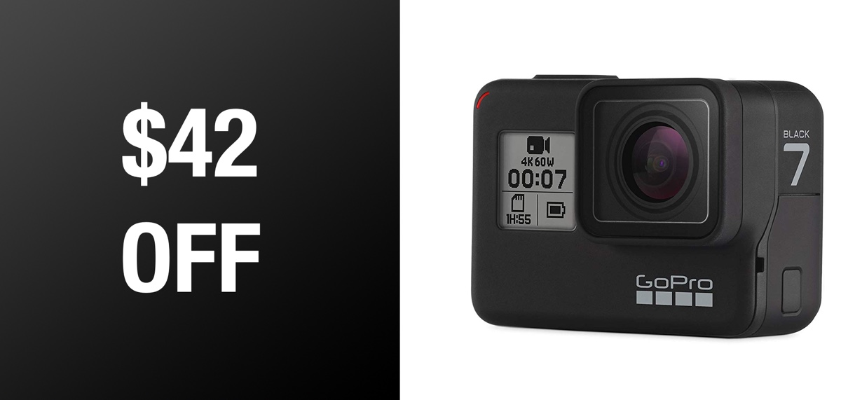 75e32794010 GoPro HERO7 Black 4K Action Camera Is A Pretty Slick Deal At  42 Off   Usually  400