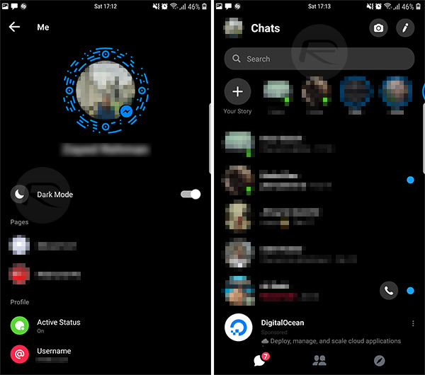 how to turn messenger into dark mode on iphone