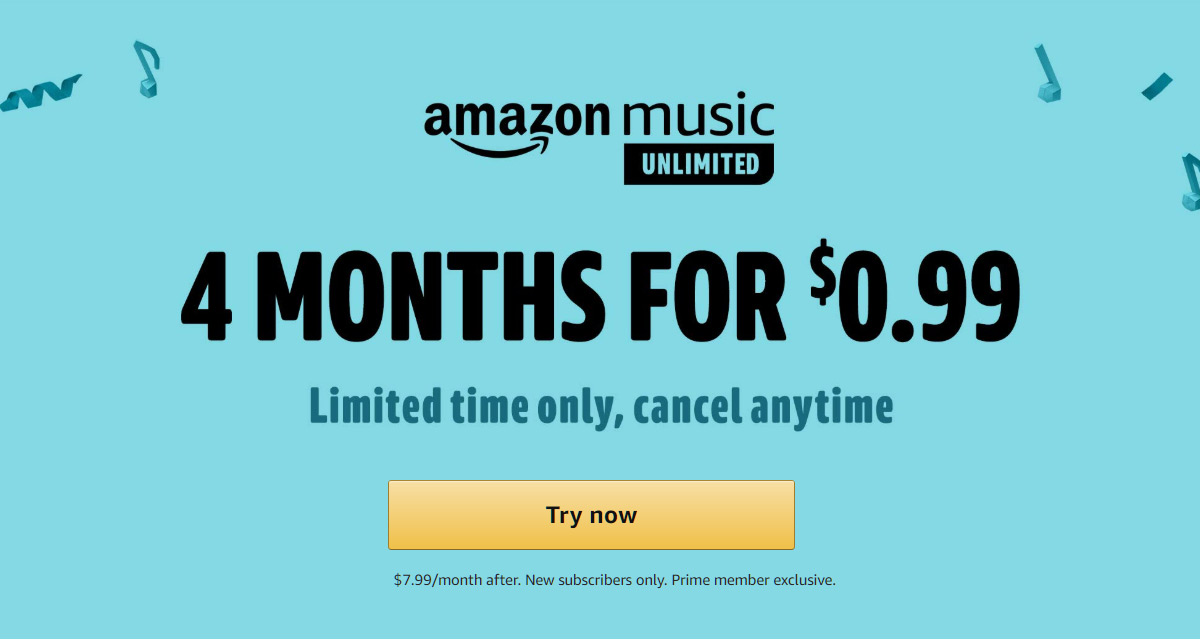 Early Prime Day Deal: Get Amazon Music Unlimited 4 Months